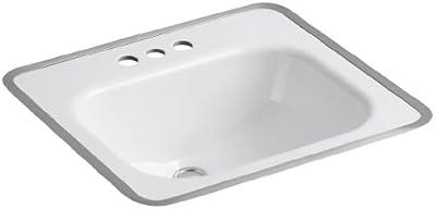 KOHLER K-2890-4-0 Tahoe Metal Frame Bathroom Sink, White