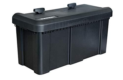 Deichselbox mit 2 Schlösser inkl. Edelstahlhaus Halter, Werkzeugkasten für Anhänger Staukiste 23 ltr Anhängerbox, Daken B23-2+MON4002