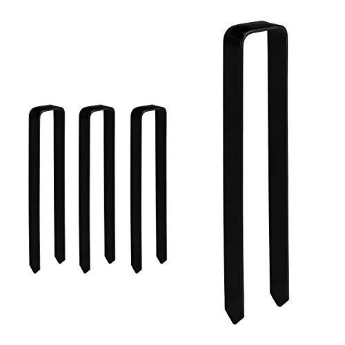 Relaxdays grondanker 4 stuks, bevestiging rozenboog, U-vorm, groot, XXL, HBT: 30 x 6,5 x 2,5 cm, stalen grondanker, zwart