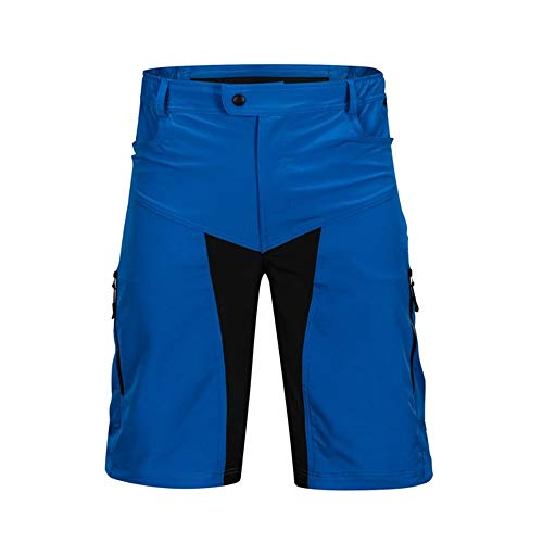 Cycling Shorts Men's Bicycle Shorts Breathable Mountain Bike Shorts Lightweight and Baggy MTB Shorts for Outdoor Cycling Bicycle Riding Pants (Color : Blue, Size : XL)