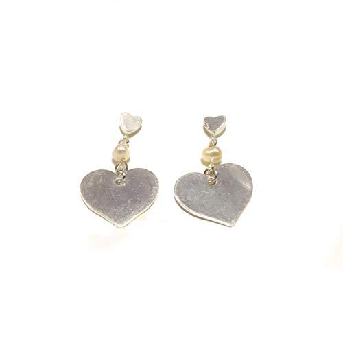 RPS4000S - Pendientes de aro con perla y corazón, chapados en plata
