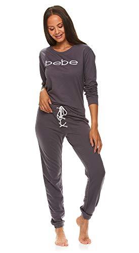 bebe Womens Cuffed Long Sleeve Shirt and Skinny Lounge Pajama Pants Sleep Set Midnight Lavender Large