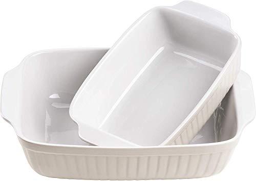 Mäser 931137 Serie Kitchen Time, Auflaufformen rechteckig im 2er Set, eckige Ofenformen, ideal auch für Lasagne, kratz- und schnittfest, Keramik, 33 x 24 x 8 cm / 25,5 x 16 x 7 cm, Grau