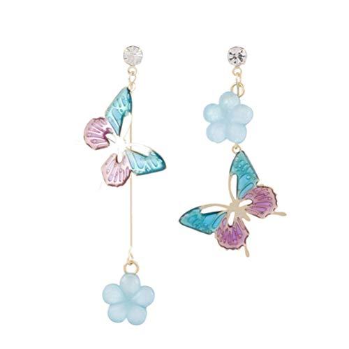 Desconocido Genérico 1 par de Pendientes de Mariposa Y Flores Pendientes de Plata para Mujer