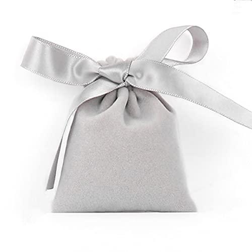 KOQIO 10 bolsas de almacenamiento de terciopelo suave de alta gama, reutilizables y multicolor, diseño de cordón, con cinta para decoración de Navidad, boda, fiesta, regalo, 12 x 15 cm