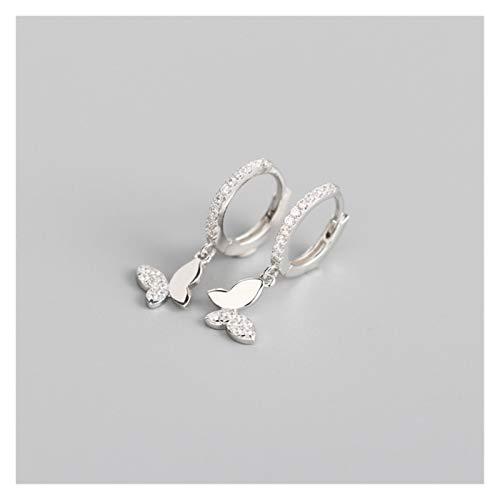 JINGGEGE 925 Pendientes de aro de Mariposa de Plata esterlina para Mujeres Regalos de joyería de Plata de Oro Brillante (Gem Color : Silver Color)
