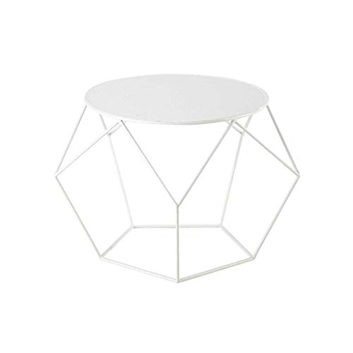 Escritorio de oficina en casa Mesa nórdico salón dormitorio cama negra blancos mesas redondas pequeña mesa de centro del marco del hierro forjado opcionales Nest (Color: Blanco) escritorio plegable