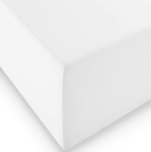 fleuresse 1119 XXL Jersey Stretch Spannbetttuch (96 Prozent Baumwolle, 4 Prozent Elasthan), mit Rumdumgummizug, Ökotex 100, für Matratzen bis 40 cm Höhe, 180 x 200 - 200 x 220 cm, weiß