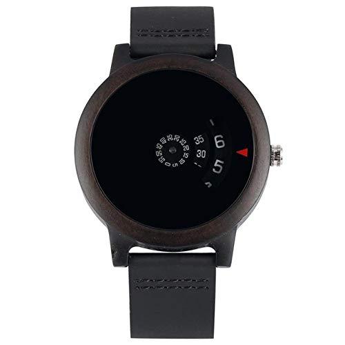 LOOIUEX Reloj de Madera Minimalista Tocadiscos Reloj de Madera Esfera única en...