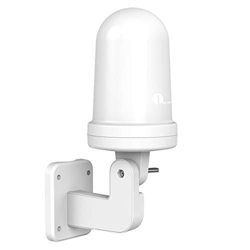 1byone Antena de TV Interior/Exterior, Omnidireccional Antena de TV Digital para Receptor HDTV/DVB-T, VHF/UHF/FM, TDT Digital y señales de TV analógicas, tecnología SMD, Resistente al Agua-Blanco