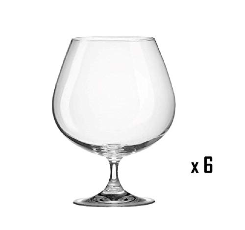 Set of 6 Clear Glass Brandy Cognac Small Glasses Contemporary 150ml by Solavia