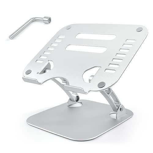 ALSCETEN Soporte para portátil de aluminio, ángulo ajustable para portátiles con función de disipación de calor, compatible con portátiles de 10-17 pulgadas como MacBookAir, Dell, HP, Lenovo,