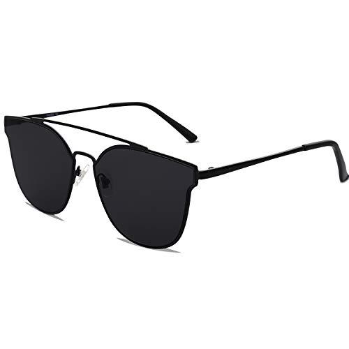SOJOS Handgemacht Rostfreier Sathl Hochwertig Kein Nickel Schicke Sonnenbrille für Damen Herren Verspiegelt SJ1100 mit Schwarz Rahmen/Schwarz Linse