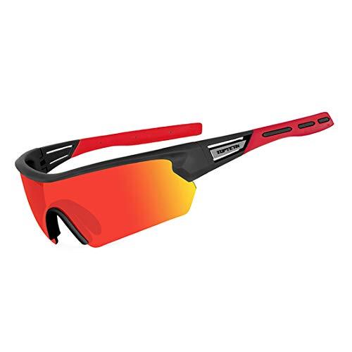 TOPTETN Fahrradbrille Polarisierte Sonnenbrille, UV400-Schutz Sportbrille für Herren und Damen, Radbrille mit 5 Wechselobjektiven und Etui für Radsports, Baseball, Laufen Sportsonnenbrille (Rot)
