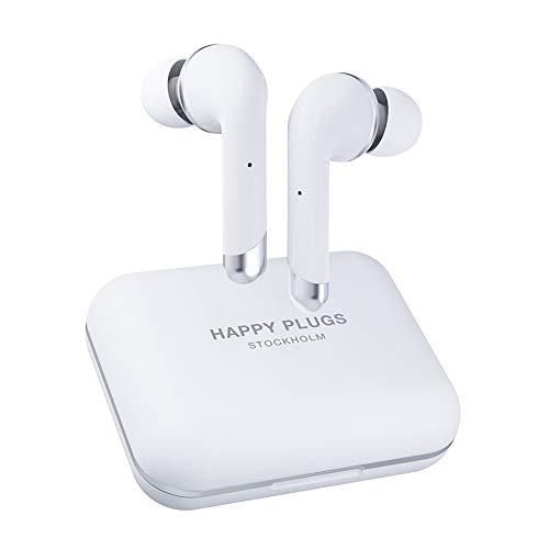 Happy Plugs Air 1 Plus High-end in-Ear True Wireless Bluetooth Earbuds/Headphones with Charging Case and Microphone | Up to 40 Hours Playtime | Suitable for iOS/Android, White