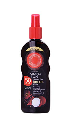 Cabana Sun Deep Tanning Dry Oil Spray Coconut Water Resistant 200ml SPF50