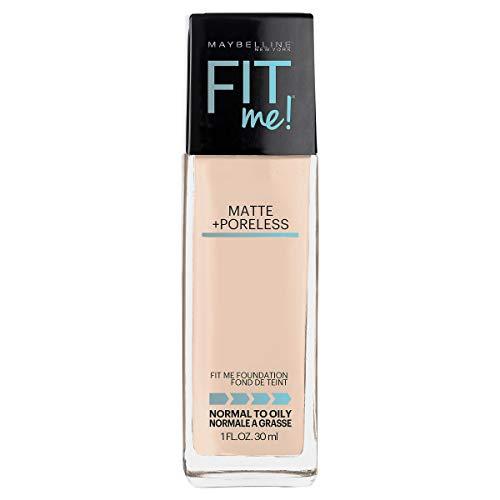 Maybelline Fit Me Matte + Poreless Liquid Foundation Makeup, Fair Porcelain, 1 fl. oz. Oil-Free Foundation