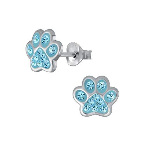 Laimons Orecchini per bambine e bambini, gioielli per bambini, a forma di zampa di cane, zampa di zampa con glitter in blu chiaro, 7 mm, in argento sterling 925