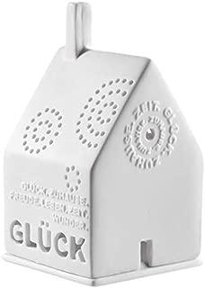 kleine dekorative Windlicht-Laterne Haus Metall champagnerfarbig Preis für 2