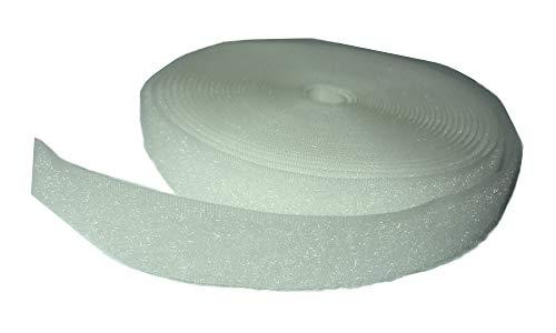 FrogJim 5m Flauschband Klettband zum Nähen, weiß, 20mm breit, 5m Rolle Flausch KRNWL5 (nicht selbstklebend/nähen, Flauschband weiß)
