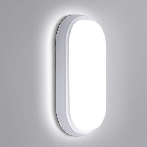 Oeegoo LED Deckenleuchte, IP54 Wasserdicht Feuchtraumleuchte, 12W 960LM LED Deckenlampe Bad, Ovalleuchte Wandleuchte für Badezimmer Schlafzimmer Treppe Terrasse Flur Keller Garten Neutralweiß 4000K