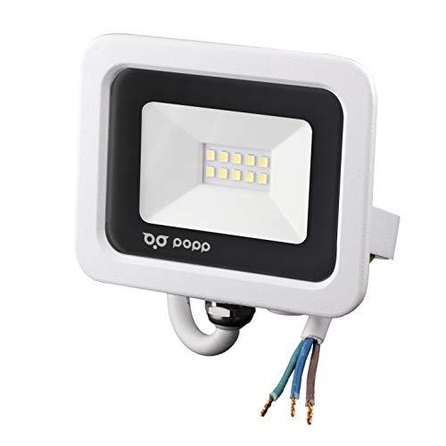 POPP® juegos de 5 y 10 Floodlight Led Foco Proyector Led 10w 20w 30w 50w para Exterior Iluminación Decoración 6000k luz fria Impermeable IP65 Blanco transparente y Opal (Focos blanco 10w, 5 un