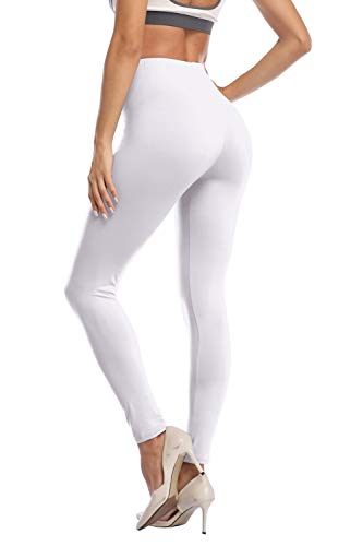 Kotii Women's High Waist Soft Full Length Leggings, White, One Size