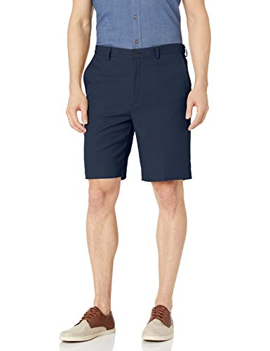 Haggar Men's Cool 18 Pro Straight Fit Stretch Solid Flat Front Short, Navy, 40