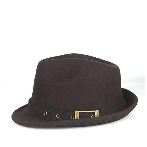 Fedoras Sombrero De Fiesta Vintage 100% Sombrero Lana Australiana para Hombre, Sombrero De Jazz para Papá, Sombrero De Caballero Humboldt Billy, Sombrero De Corcho para Adult(Color:café,Size:58CM)