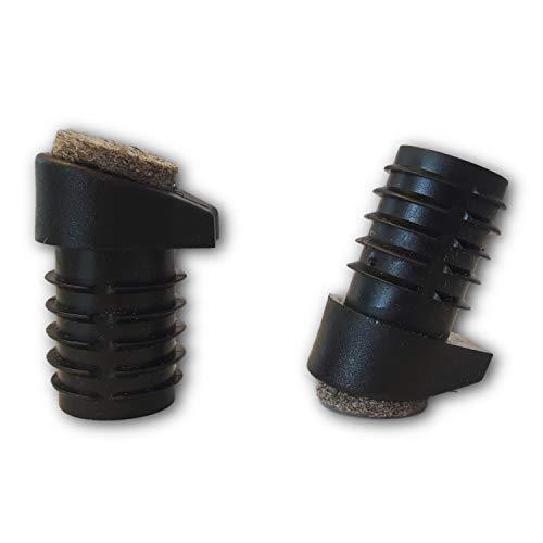 4 St. Stuhlgleiter mit Filz und Stapelschutz, für Runde schrägstehende Stuhlbeine mit Rohrwandstärke 1,5-2 mm, Schräge 12-18°, Rohraussendurchmesser 18 mm