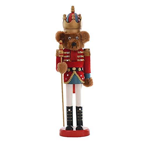 Foxlove Cascanueces De Navidad Oso De Madera Soldado Soldado Cascanueces En Soporte Cascanueces Soldado Adornos De Marionetas Juguetes De Muñecas Adornos De Navidad   38 Cm