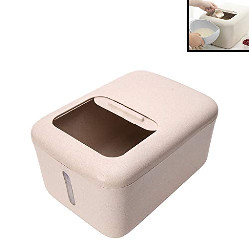 Rice Storage Container, Airtight Plastic Rice Bucket Pantry Food Storage Jar Bin, BPA Free Leakproof, for Flour Sugar Baking Supplies