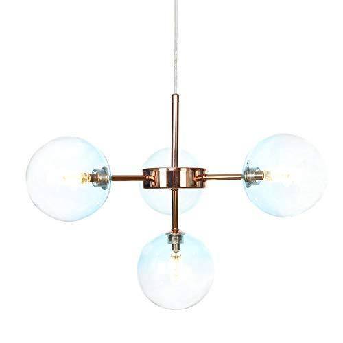 ZCCLCH Techo Azul gradiente Bola de Cristal Pendiente de la luz de Las Luces 4- G4 luz Pendiente Isla de Cocina del LED Estudio Dormitorio Colgando de iluminación Ajustable (Color : Rose Gold)