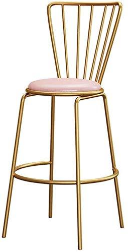 WWW-DENG barkruk, hoogte bar, barkruk, café, hoge stoel, keuken, achter en goudkleuren, poten van metaal, roze, kunstleer, gevoerde zitting, barkruk