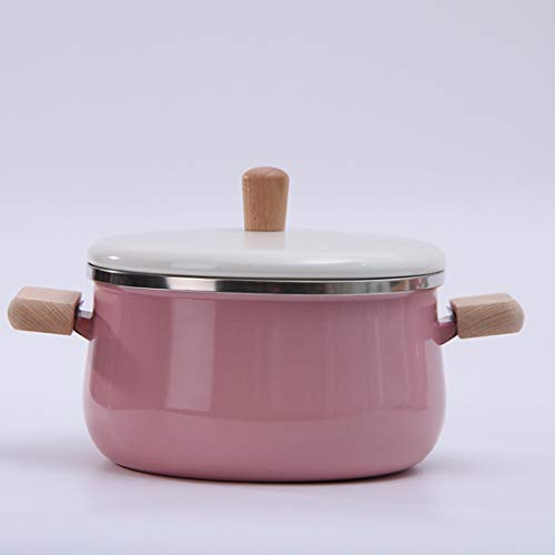 JMAHM Stockpots - Pentola smaltata, antiaderente, per latte, tè, caffè, uova, bollitore, manico in legno, grande capacità con coperchio (pentola per zuppa rosa)