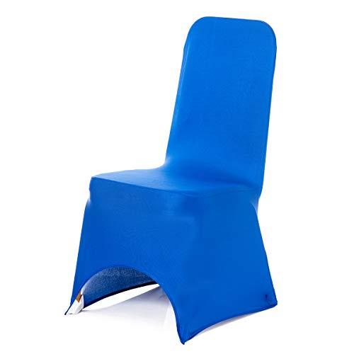 Trimming Shop Bleu Royal Housse de Chaise Spandex Mariage Banquet Fête d'anniversaire Fêtes Dîner Elastique Arqué Devant - Bleu Roi, Pack of 50