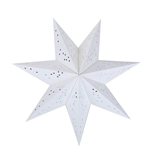 BESPORTBLE Papierstern Lampe 45cm Papier Weihnachtssterne mit Beleuchtung 3D Leuchtstern Fensterdeko Stern Weihnachten Beleuchtet Christbaumspitze für Neujahr Silvester Party Deko