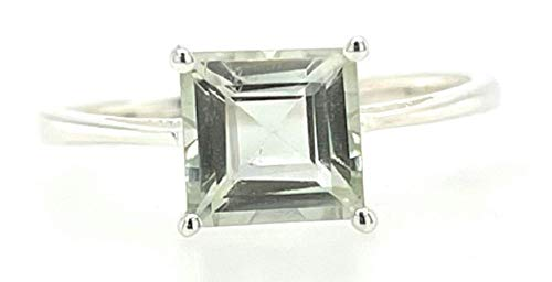Natural 1.5ct Green Amethyst 925 Solid Sterling Silver Ring Size 6, 7, 9