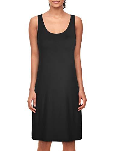 Camisón Mujer Verano Camisones de Algodon Ropa de Dormir Cuello en V Pijamas Vestir Camisónes Loungewear Elegante Negro L
