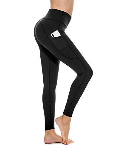 BALEAF Women's High Waisted Yoga Pants Side Pocketed Workout Running Leggings Tummy Control Black XL