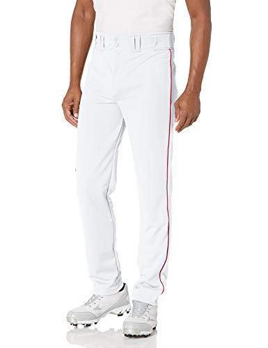 Augusta Sportswear Men's Augusta Series Baseball/Softball Pant with Piping, White/Red, Medium