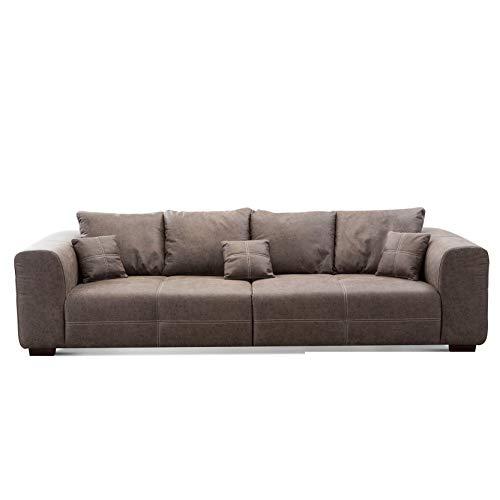 CAVADORE Big Sofa Mavericco inkl. Kissen / XXL-Couch mit tiefen Sitzflächen und modernem Design / 287 x 69 x 108 / Lederoptik braun