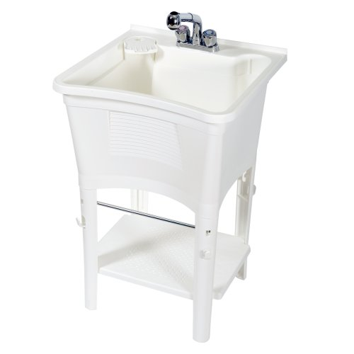 Zenna Home, ErgoTub ELT2006W Freestanding Utility Laundry Tub with Pull-Out Faucet, White