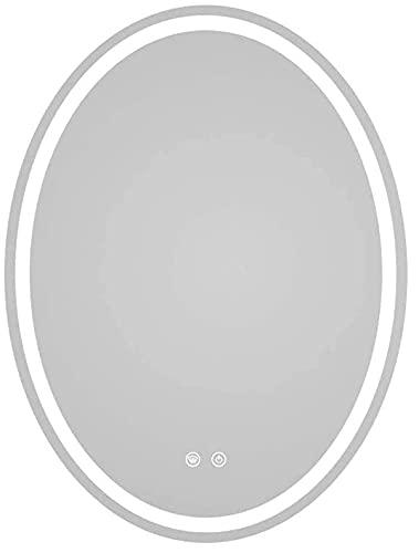 YOUZHILAN Espejo De Baño Espejo Maquillaje Espejo Baño LED Iluminado Baño Pared del Espejo Oval Espejo Colgado De Luz LED con Interruptor Táctil Función Anti-Niebla