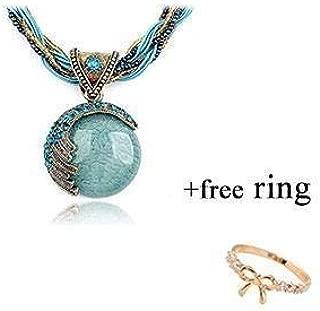 DOINSHOP 2019 New Hot Fashion Bohemian Jewelry Statement Necklaces Women Rhinestone Gem Pendant Collar