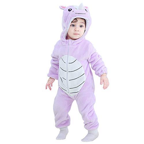 Säuglingsoverall Tier Insgesamt Pyjamas, Neugeborenes Baby-Strampler Winter warm Longsleeve, Flanell-Vlies-Jungen-Mädchen-Kleidung,Rhino,6~12month