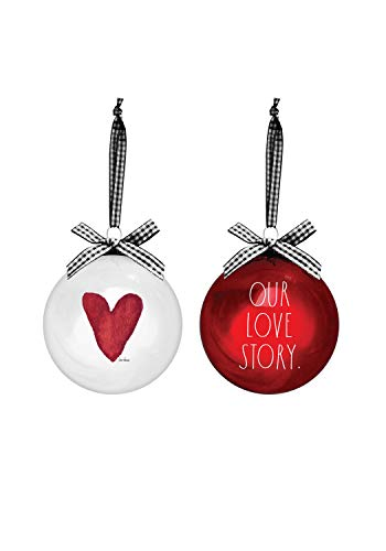 Rae Dunn Christmas Ornaments - Set of 2 Glass Balls - 100mm / 3.94 Inch Large Hanging Holiday Decorations for Xmas Tree Our Love Story