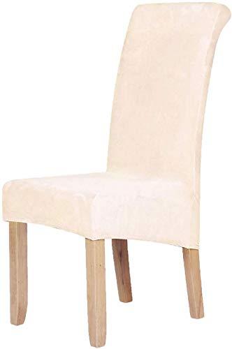 Homaxy Velvet Stretch Esszimmerstuhl Hussen - Spandex Plüsch Stuhlhussen Solide Großes Esszimmer Stuhl Protector Home Decor Set 2, Beige