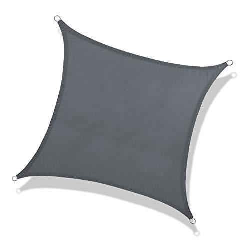 NAKAMORY Sun Shade Sail Waterproof 95% UV Block for Outdoor Garden Patio Backyard (16'×16', Dark Gray)