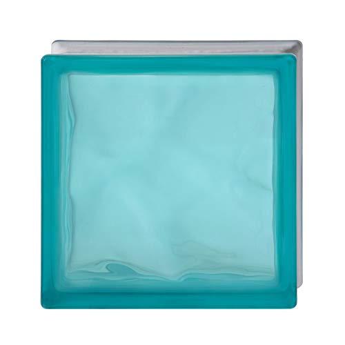 Bormioli Rocco - Cristal de ladrillo satinado 1 lado | Pure Shade turquesa ondulada | 19 x 19 x 8 cm | Unidad de venta en caja de 6 unidades